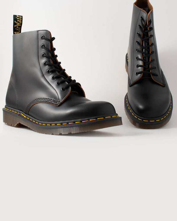 Dr. Martens, 12308001, 1416OZ Vintage BLACK 8 Eye Boot Black Quilon