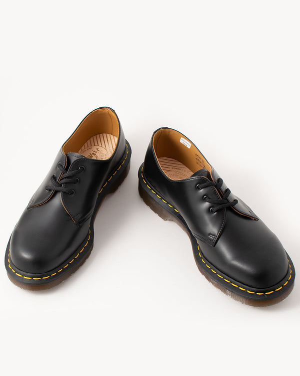 Dr. Martens, 12877001, 1461, Vintage Quilon Black 3 Eye Shoe, Made in England