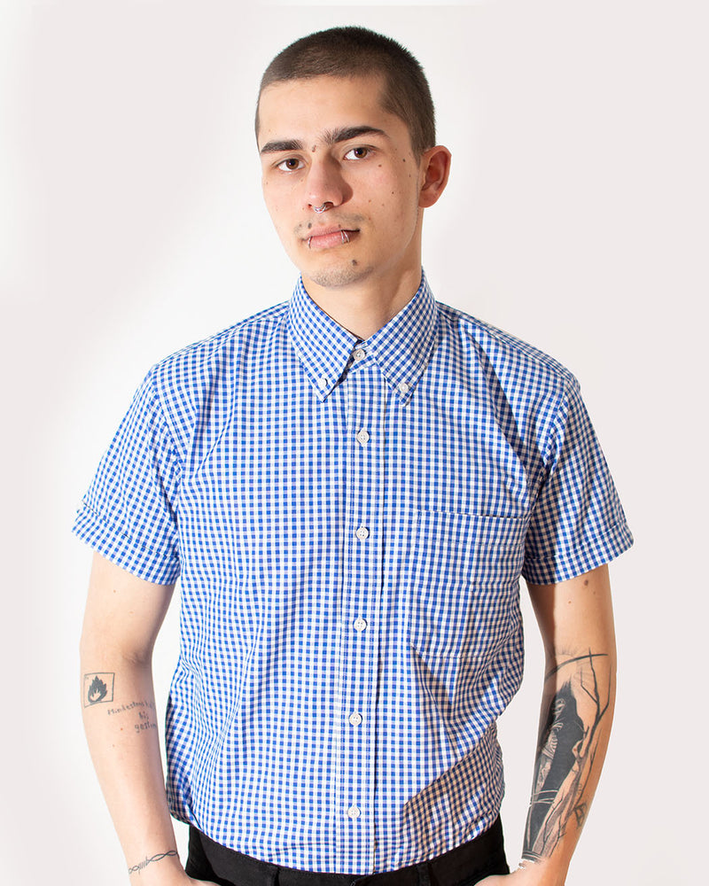 Relco RELCO LONDON, Vintage Shirt, Gingham Print, Blue - Pick Up - Dusseldorf