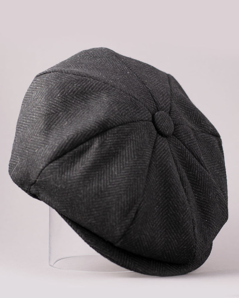 CHAOS BROTHERS Peaky Blinders, Newsboy Cap, Black Herringbone - Pick Up - Dusseldorf