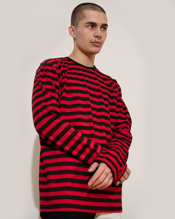 RUN & FLY Run & Fly, Mens Striped Long Sleeve, Black/Red, - Pick Up - Dusseldorf