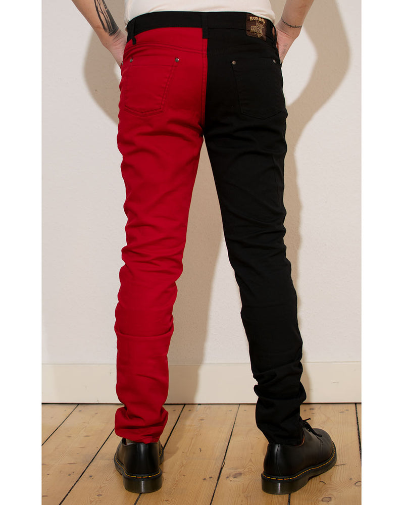 RUN & FLY Run & Fly, Mens SPLIT LEG SKINNY, Black/Red, JM1249 - Pick Up - Dusseldorf