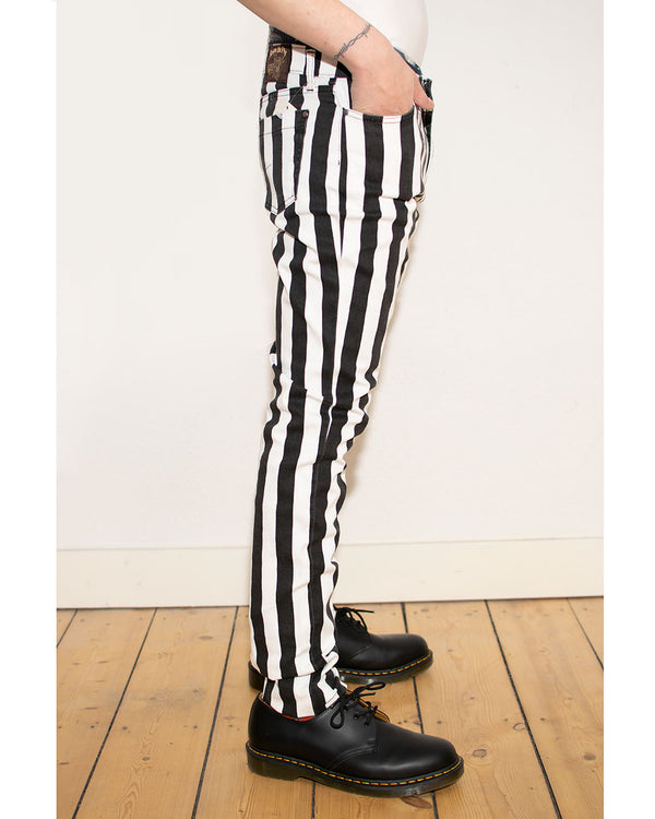 RUN & FLY Run & Fly, Wide Striped Skinny Jeans, Black/White, SE_JM1105_Mens_Blk_White - Pick Up - Dusseldorf