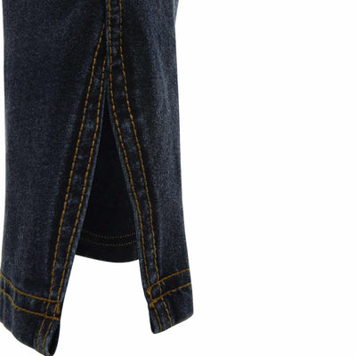 DARK DENIM YELLOW STITCH WITH TWISTED SLIT SEAM
