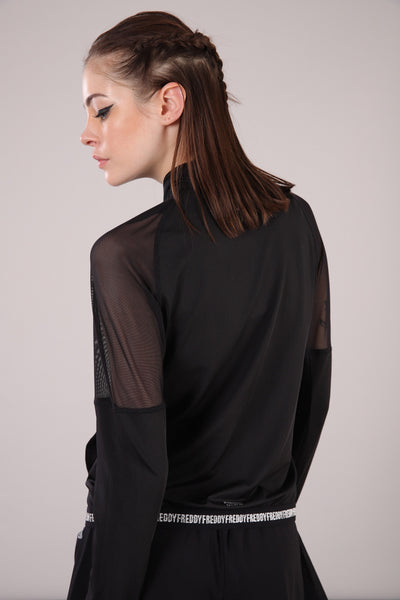 BLACK ACTIVE MESH SWEATSHIRT WITH ZIP