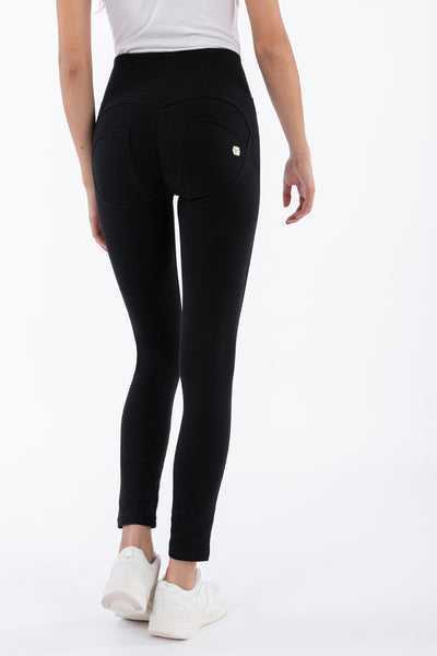 HIGH WAIST SKINNY BLACK SELF TONE ZIP