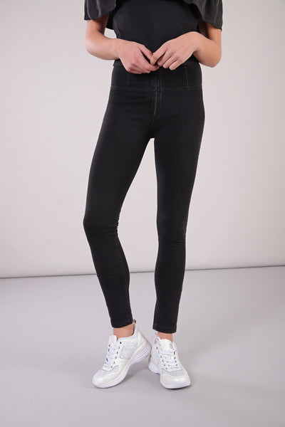 ANKLE LEG HIGH WAIST BLACK DENIM BLACK STITCH SELF TONE ZIP