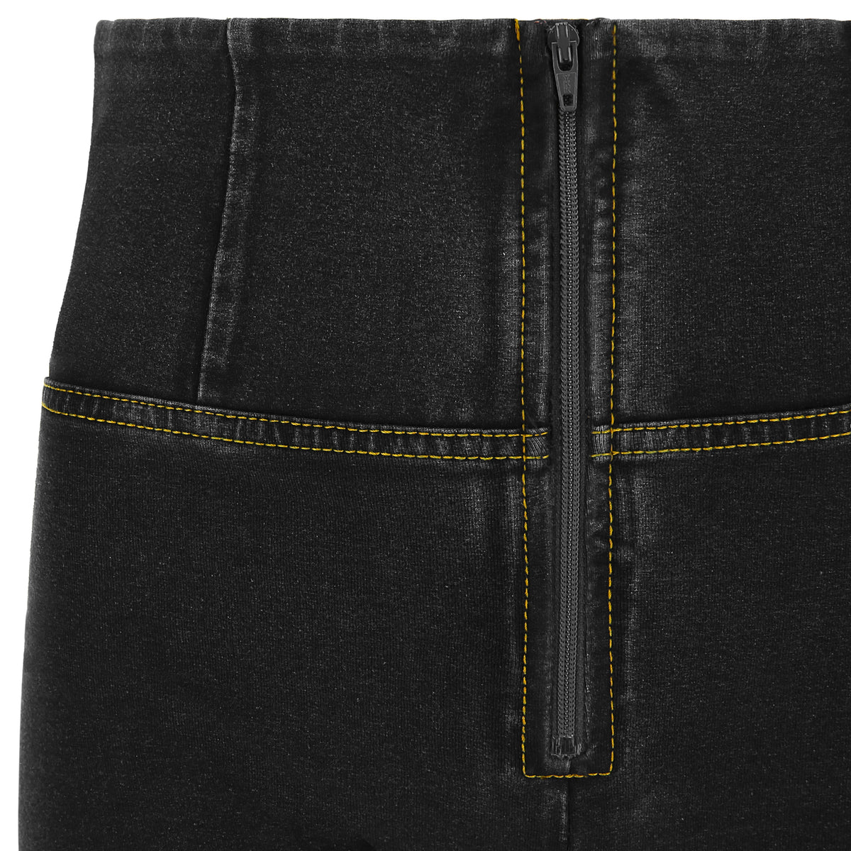 BLACK DENIM YELLOW STITCH HIGH WAIST SELF TONE ZIP