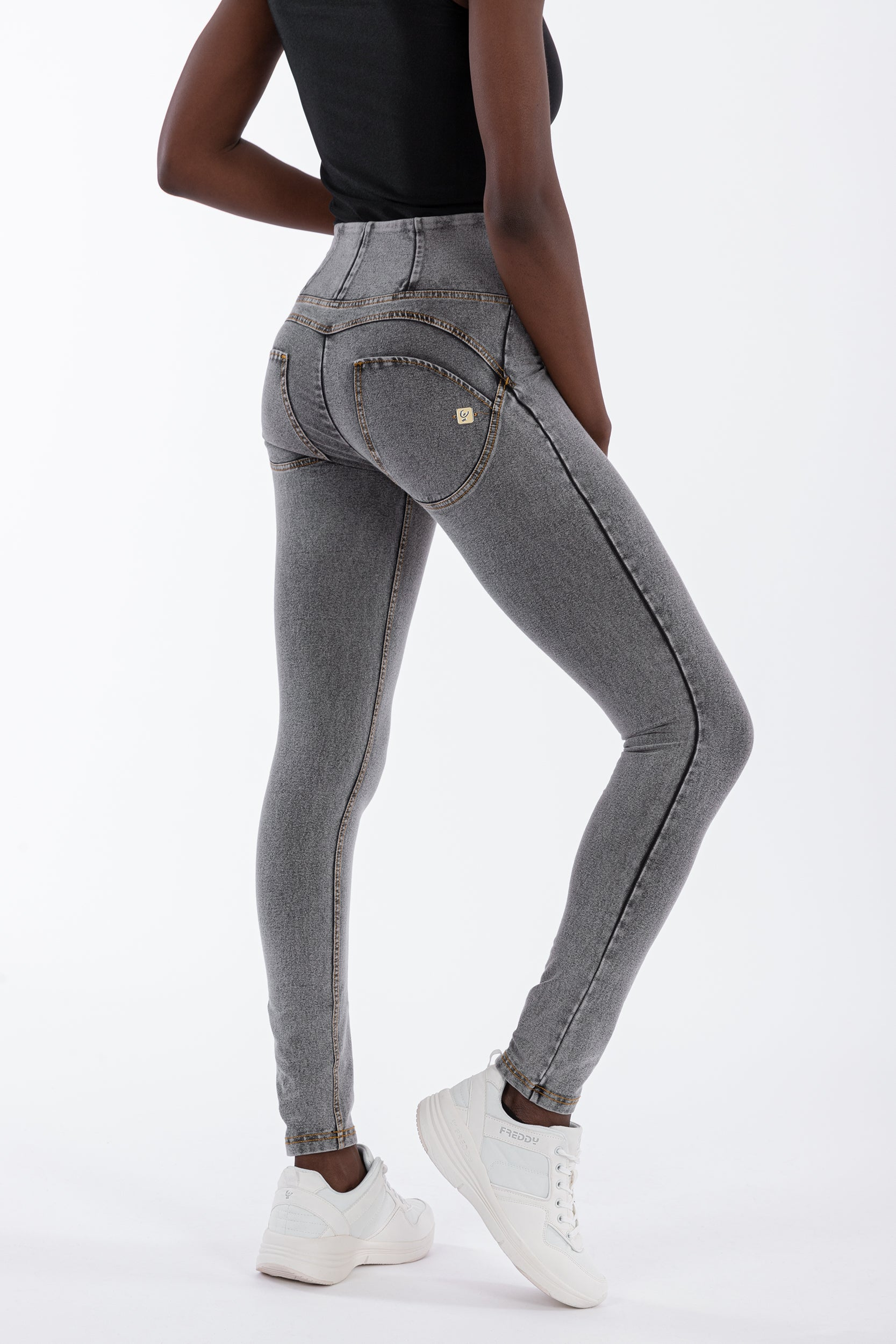 GREY DENIM HIGH WAIST SELF TONE ZIP