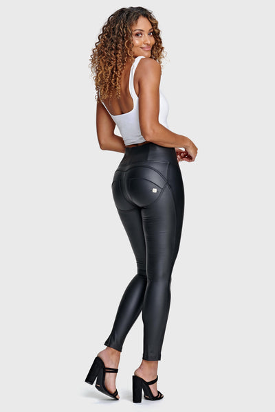 BLACK FAUX LEATHER HIGH RISE