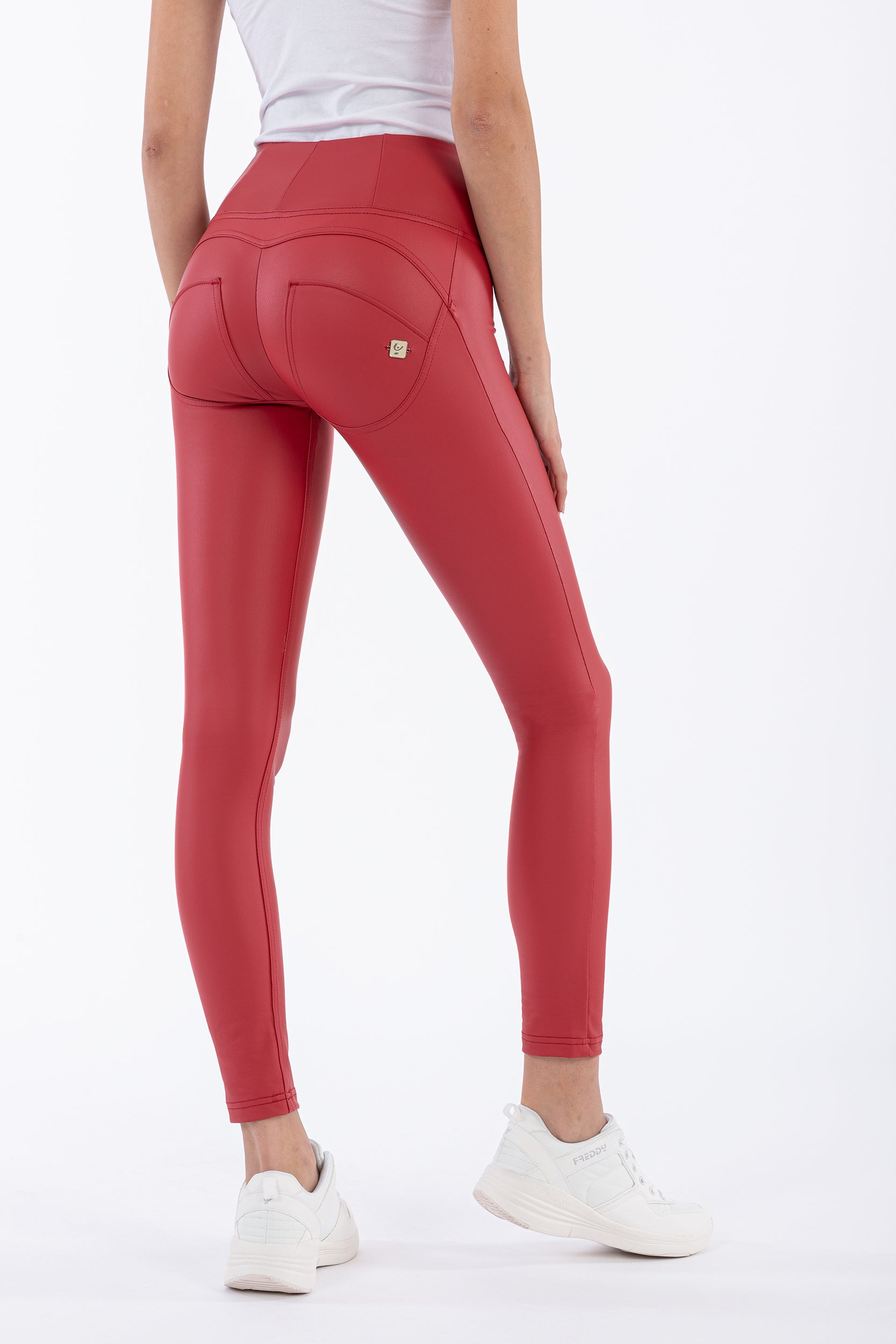 ANKLE LEG RED LEATHER HIGH RISE SELF TONE ZIP