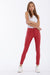 ANKLE LENGTH SKINNY RED LEATHER HIGH RISE