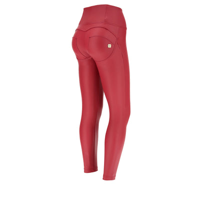 ANKLE LENGTH HIGH RISE SKINNY FAUX LEATHER RED