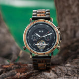 Wooden watch in nature