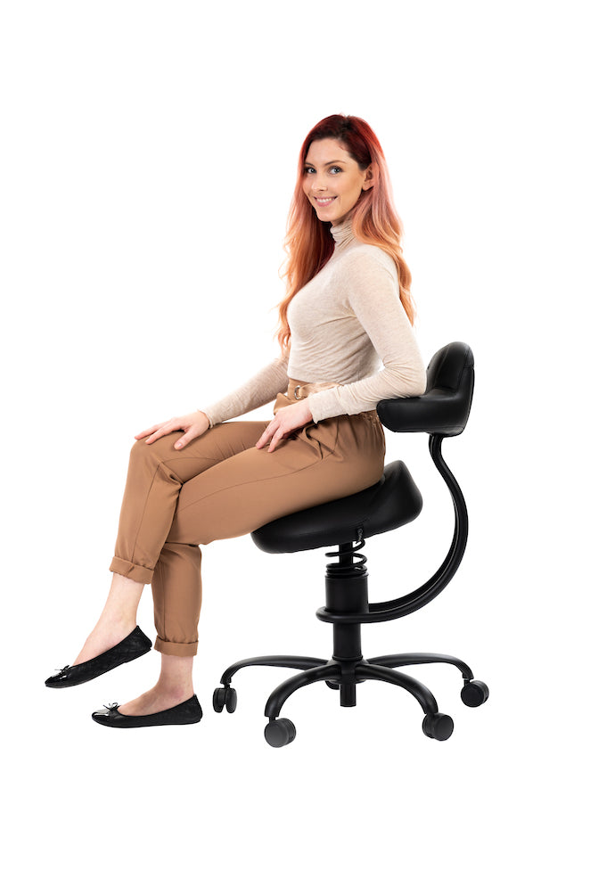 Best chair for denists side view black Explorer dental stool SpinaliS Canada