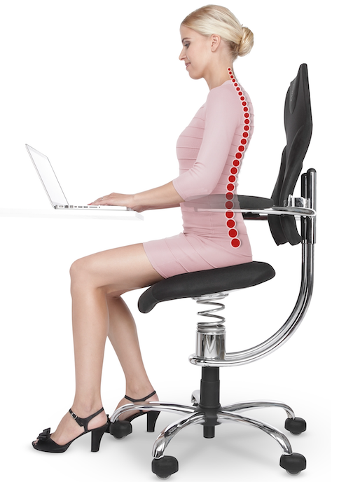 Person on active sitting chair proper posture SpinaliS Canada