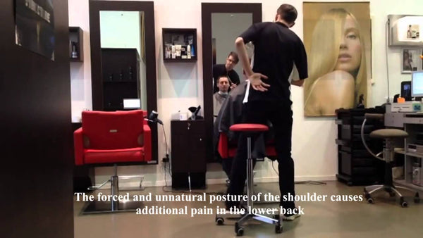 chairs for good back posture YouTube Video of a hair stylist - Spinalis Chairs Canada