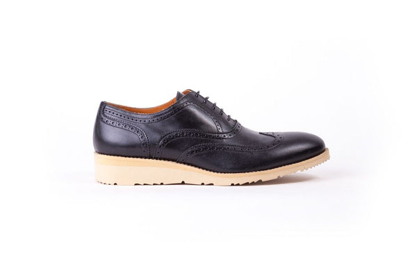 Men's Black & Beige Accented Brogue Wingtip ( EX- 106)