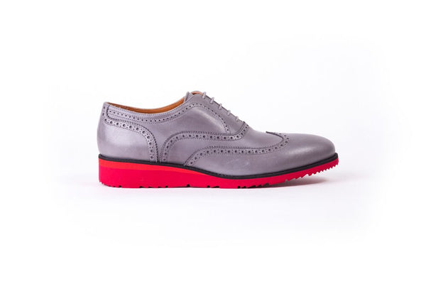 Men's Grey Red sole Brogue Wingtip