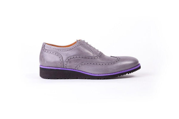 Men's Grey & Purple Accented wedge sole Brogue Wingtip  (EX-102)