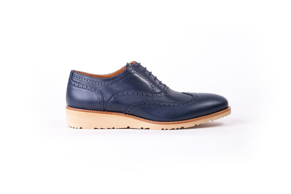Men's Navy & Tan  Accented Brogue Wingtip on beige wedge sole(EX-103)