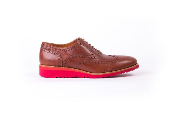 Men's Tan & Red Brogue Wingtip (EX -104)