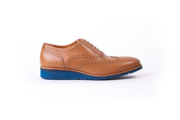 Men's Tan & Tan Brouge Wingtip on Blue Wedge sole (EX101)