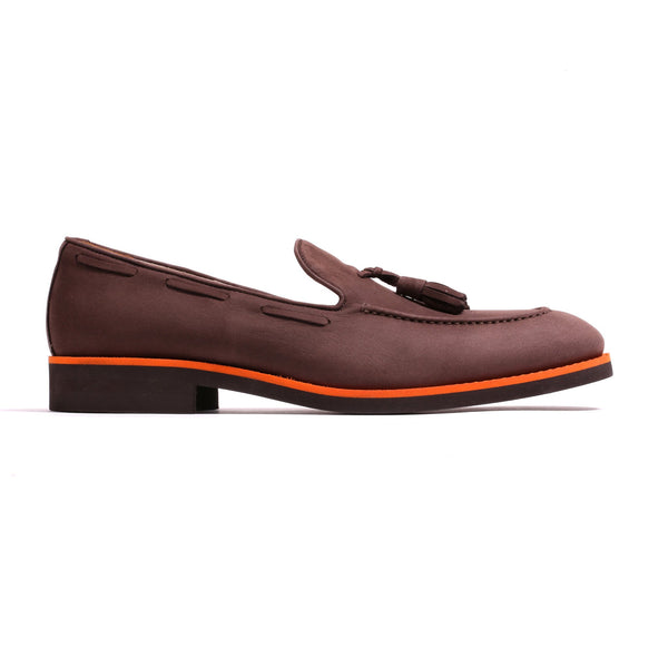 2017 Men's Brown Suede & Orange Tassel Loafer
