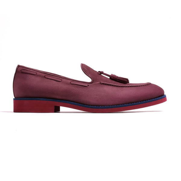 Men's Suede Burgundy Loafer