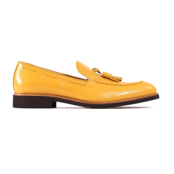 2017 Men's Mustard Yellow & Brown Tassel Loafer