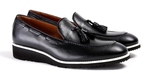 Men's Black & White Accented Tassel Loafer with Black Wedge Heel ( EX-213)