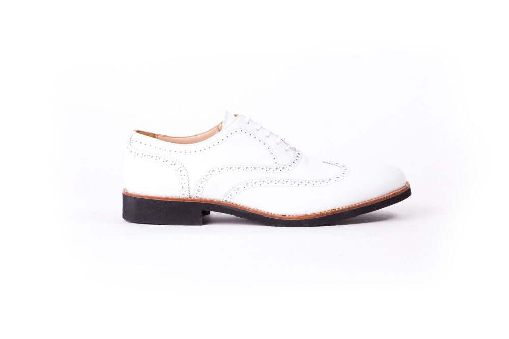 MEN'S WHITE & TAN WINGTIP ON BLACK SOLE (EX-27)