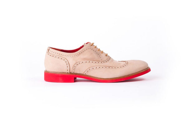 Men's Beige & Tan Accented with Rosa Sole Brogue Wingtip ( EX-126)