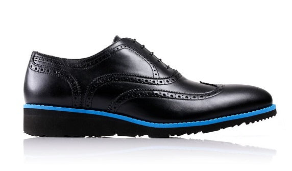 Men's Black & Blue Accented Brogue Wingtip on Black Wedge Sole (EX-36)