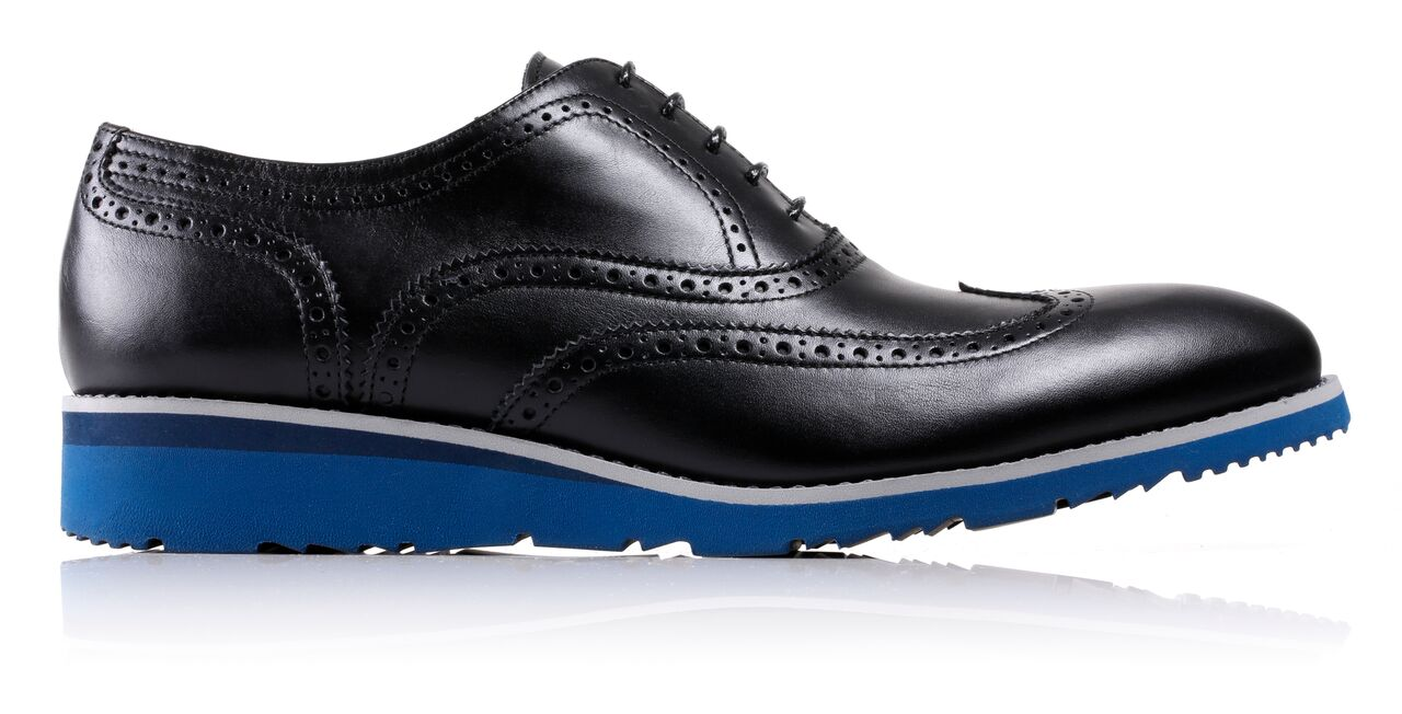 Men's Black & Grey Accented Brogue Wingtip on Blue Wedge Sole EX-29