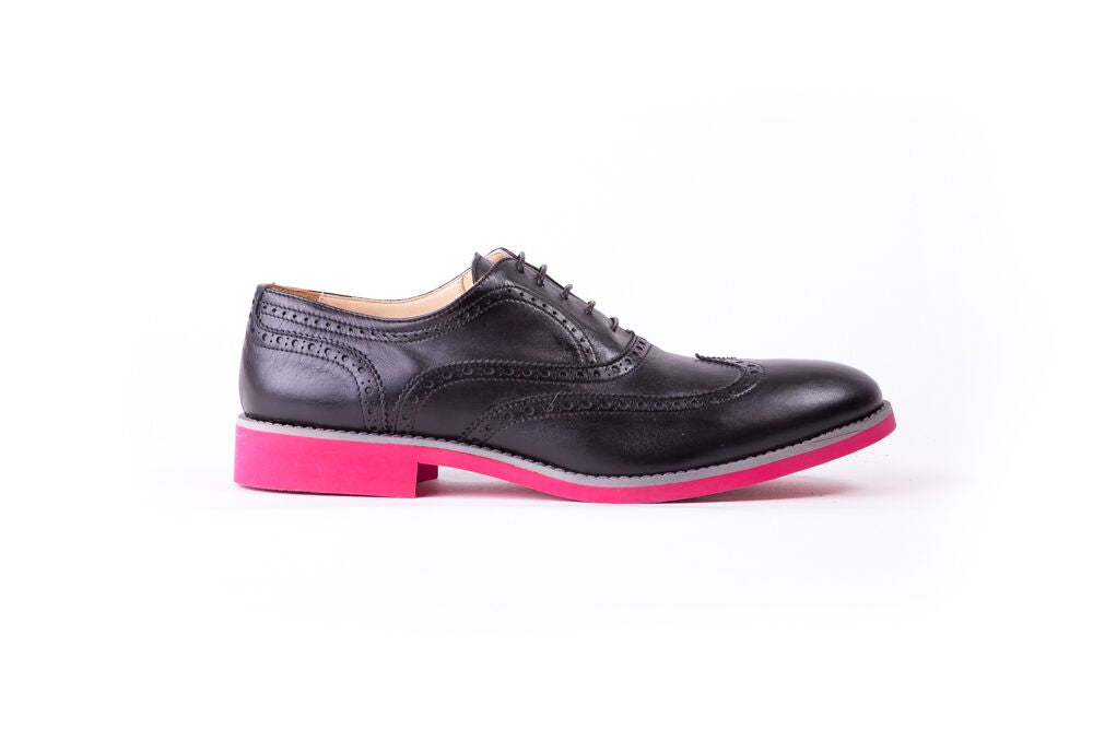 Men's Black & Grey Accented on Pink sole Brogue Wingtip (EX-108)