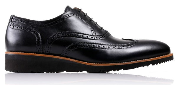 Men's Black & Tan Accented Brogue Wingtip on Black Wedge sole (EX-35)