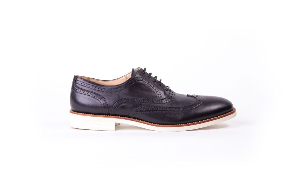 Men's Black & Tan Accented with White Sole Brogue Wingtip (Ex-115)