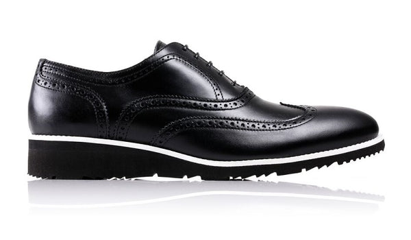 Men's Black & White Accented Brogue Wingtip on Black Wedge sole (LX-30)