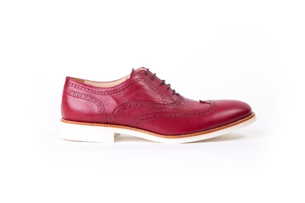 Men's Campari Bordeaux & Tan Accented Brogue Wingtip on White Sole(EX-34)