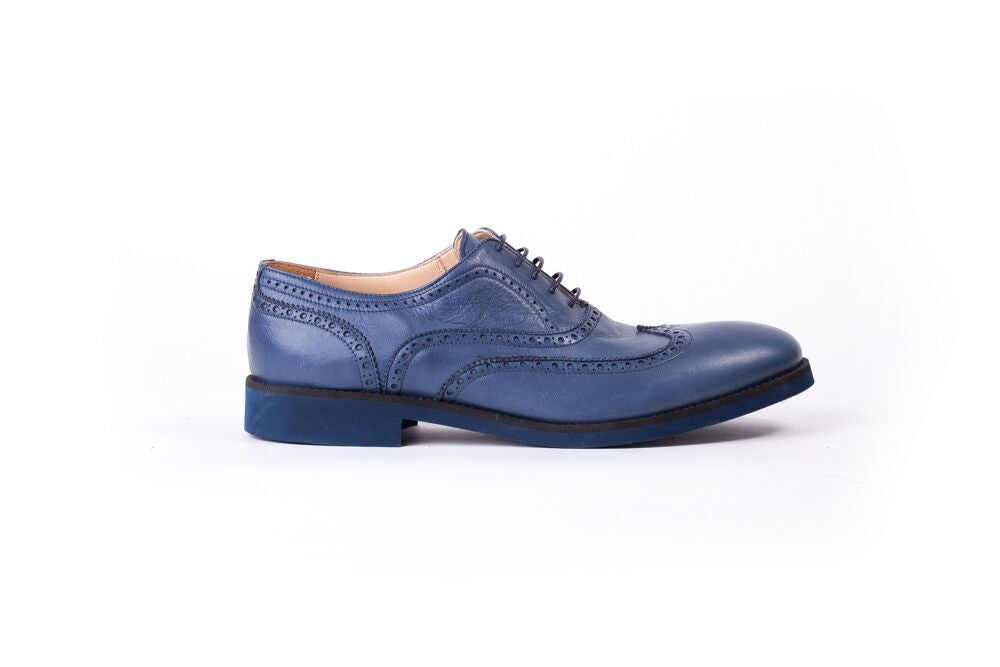 Men's Dark Blue & Black Accented with Blue Sole Brogue Wingtip (EX-123)