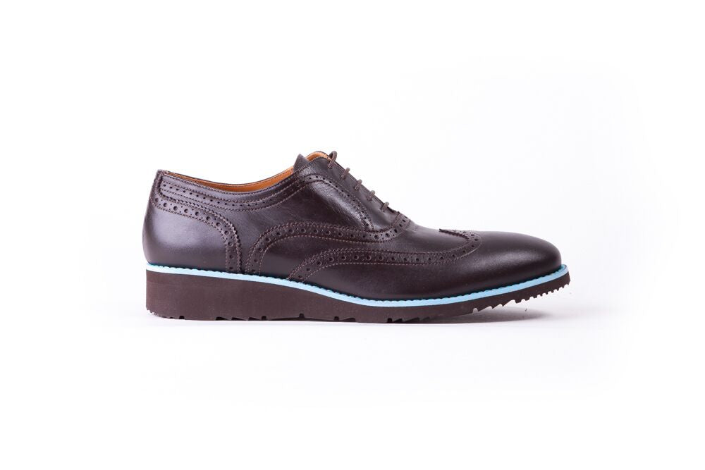 Men's Dark Brown & light Blue Accented Brogue Wingtip