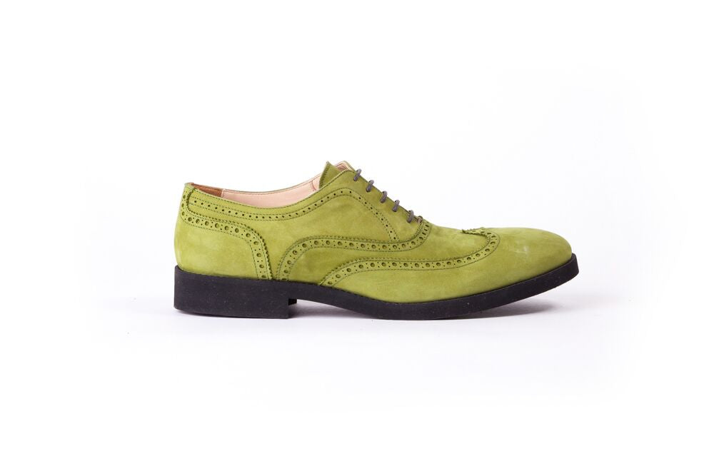 Men's  Green Nabuk & Black Brogue Wingtip (EX-125)