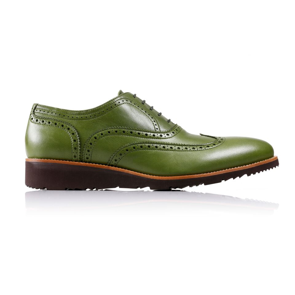 Men's Green & Tan Accented Brogue Wingtip on Brown Wedge Sole (EX-128)