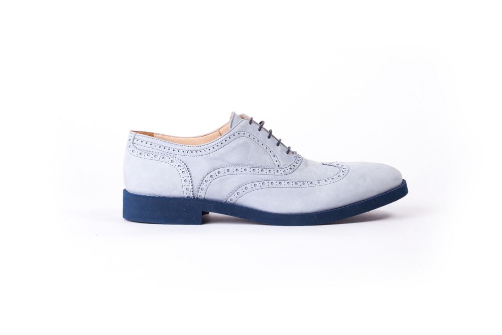 Men's Grey Nubuk Blue Sole Brogue Wingtip (EX-116)