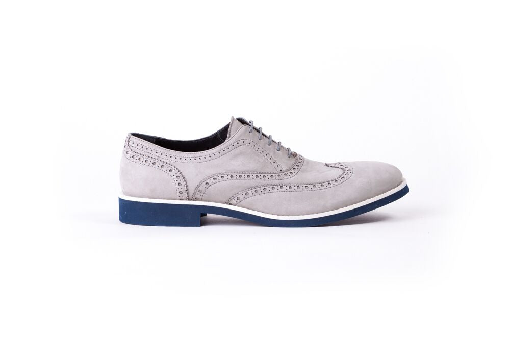 Men's Grey Nubuk & White Accented Brogue Wingtip (EX-117)