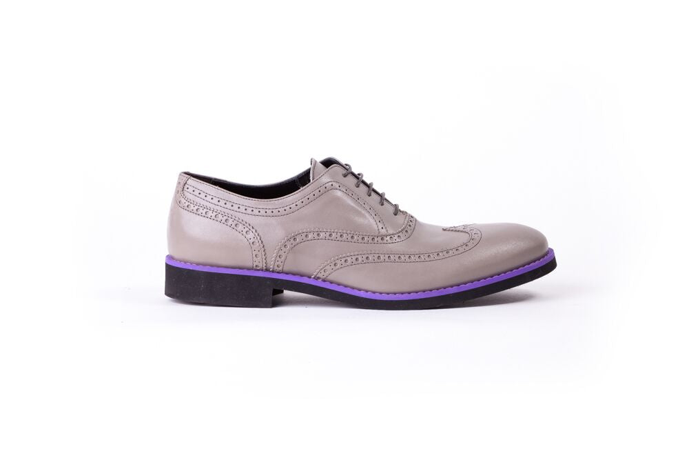 Men's Grey & Purple Accented Brogue Wingtip (EX- 118)