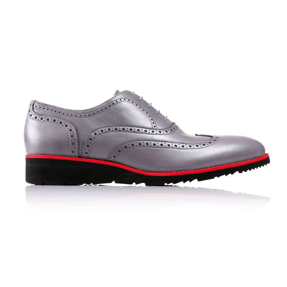 Men's Grey & Red Accented Brogue Wingtip on Black Wedge Sole (EX-129)
