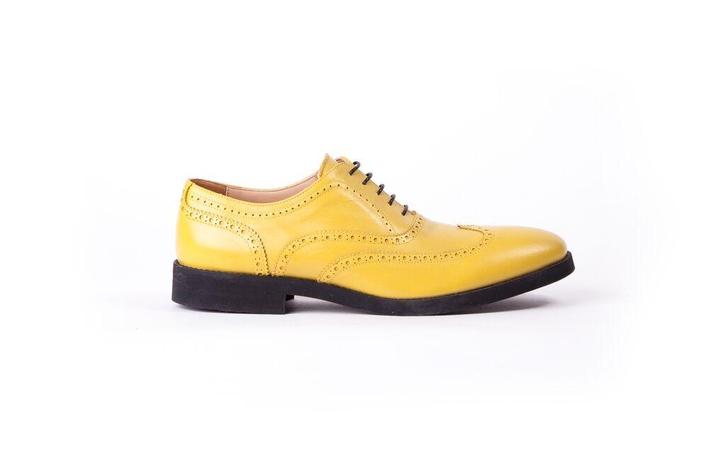 Men's Lemon & Black Accented Brogue Wingtip (EX-121)