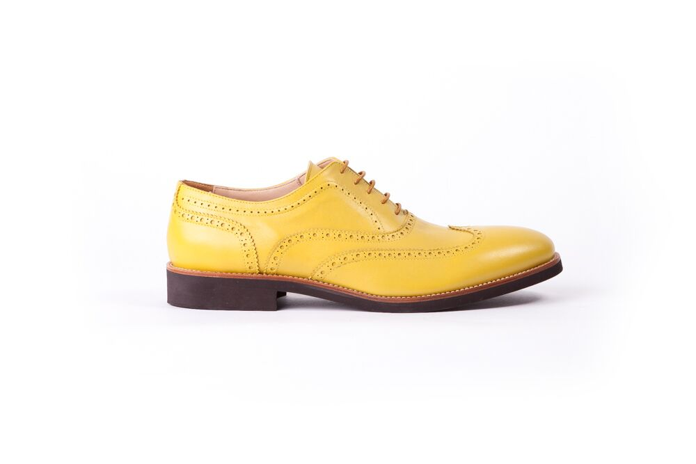 Men's Lemon & Brown Accented Brogue Wingtip -(EX-114)